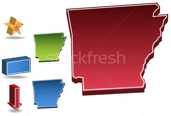 Arkansas 3D establecer iconos mapa Foto stock © cteconsulting