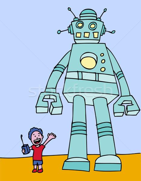 立って 巨人 ロボット 子 リモコン 子供 ストックフォト © cteconsulting