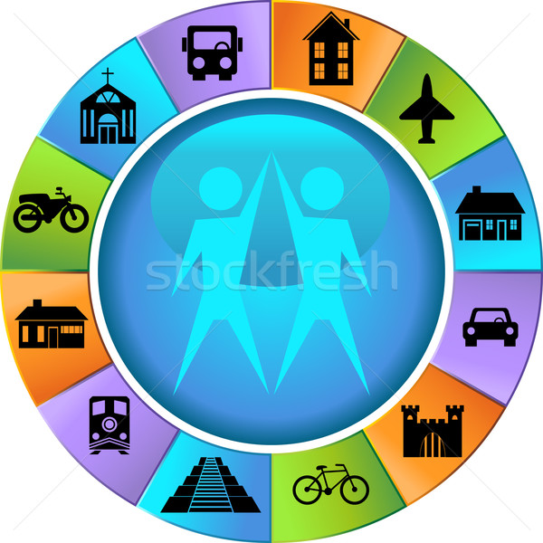 Travel Destination Buttons - Wheel Stock photo © cteconsulting