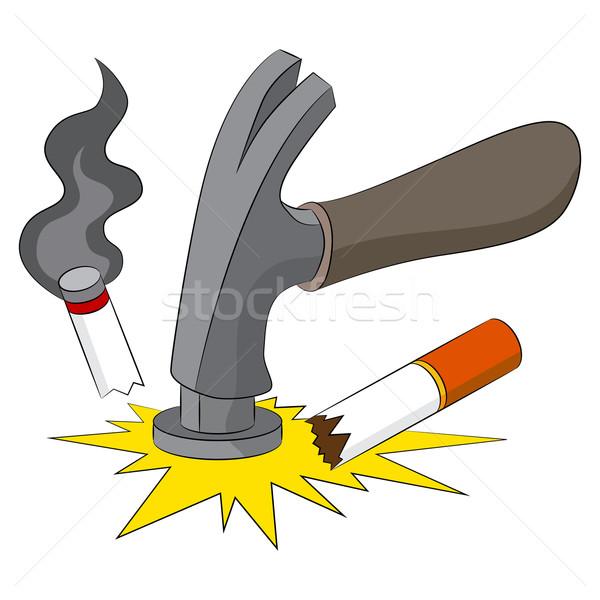 Dohányzás szokás kép rossz kalapács cigaretta Stock fotó © cteconsulting