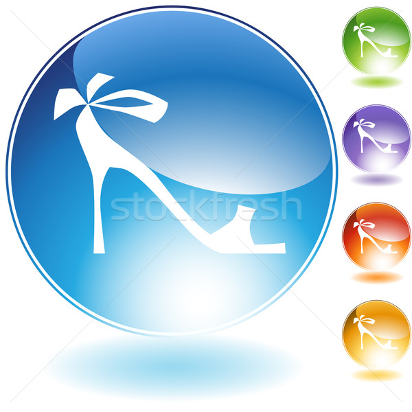Ribbon High Heel Shoe Crystal Icon Stock photo © cteconsulting