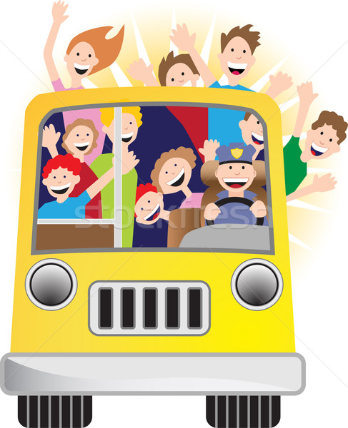 Stock photo: Bus Driver and Riders on Bus