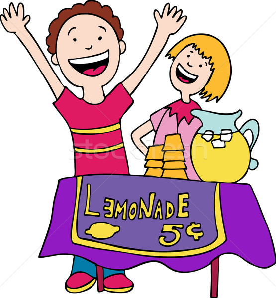 Foto stock: Limonada · suporte · crianças · vender · menina · criança