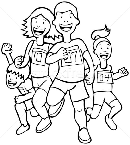 Lopers zwart wit mensen lopen marathon race Stockfoto © cteconsulting