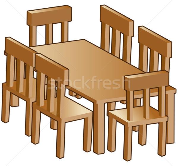 Jadalnia tabeli odizolowany biały drewna krzesło Zdjęcia stock © cteconsulting