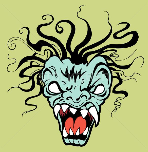 Okrutny twarz potwora biały oczy Zdjęcia stock © cteconsulting