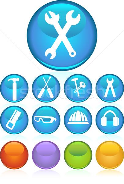 аппаратных иконки изображение набор инструменты молота Сток-фото © cteconsulting