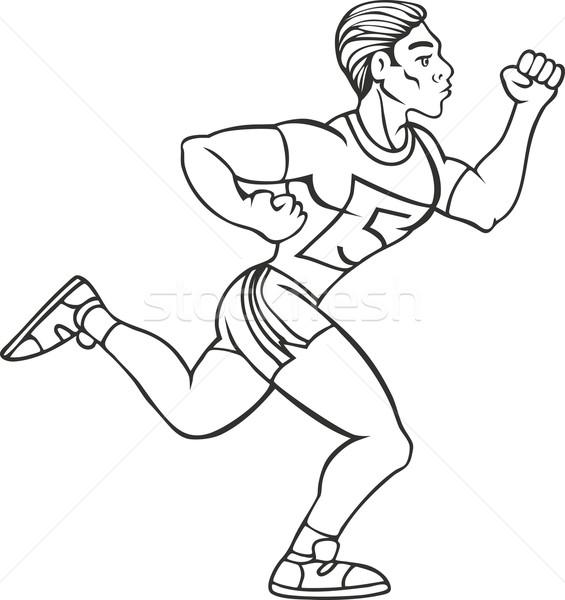 Line Art Xl 2010 : Male runner line art vector illustration john takai