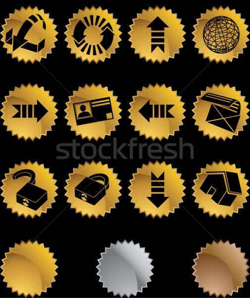 Háló ikon gyűjtemény szett földgömb nyíl drót Stock fotó © cteconsulting