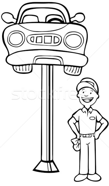 Hydraulic Car Coloring Pages : Auto mechanic car lift vector illustration john takai