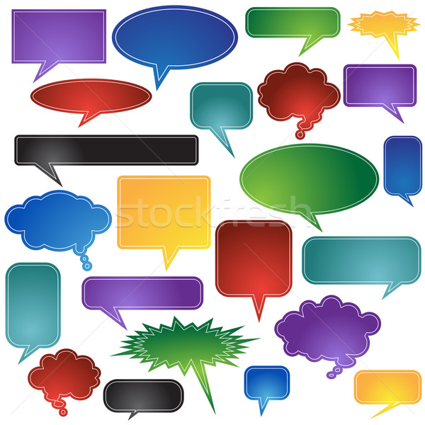 Chattare bolla set bolla chat icone Foto d'archivio © cteconsulting