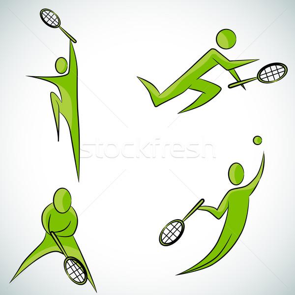 Teniszező ikon gyűjtemény kép labda fekete fehér Stock fotó © cteconsulting