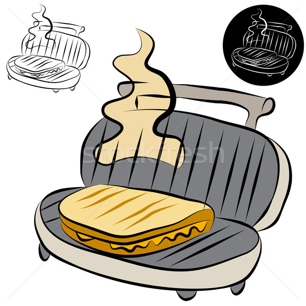 Panini Press Sandwich Maker Line Drawing Stock photo © cteconsulting