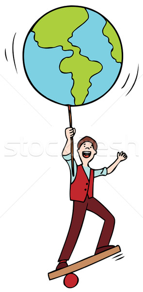 Stock photo: Man Balancing the World