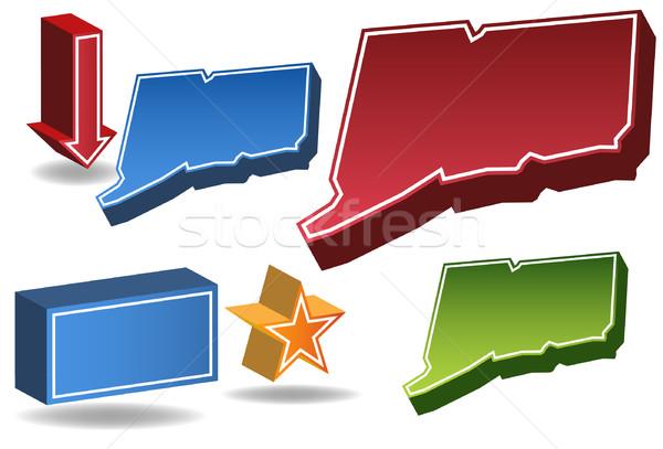 Connecticut conjunto 3D ícones mapa Foto stock © cteconsulting