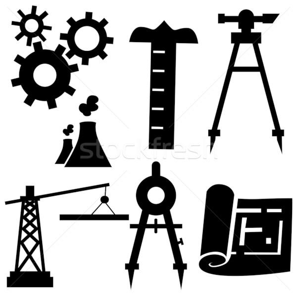 Zdjęcia stock: Inżynierii · odizolowany · biały · budowy · kompas