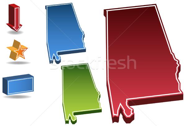 Alabama 3D ayarlamak simgeler harita Stok fotoğraf © cteconsulting
