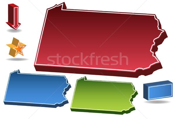 Pennsylvania 3D ingesteld iconen kaart Stockfoto © cteconsulting
