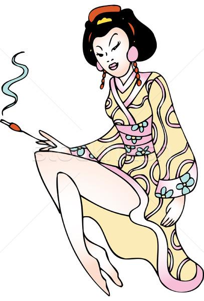 Gésa kép lány nő arc nők Stock fotó © cteconsulting