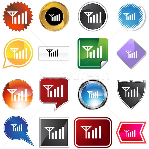 Sygnał siła wybór zestaw ikona odizolowany Zdjęcia stock © cteconsulting