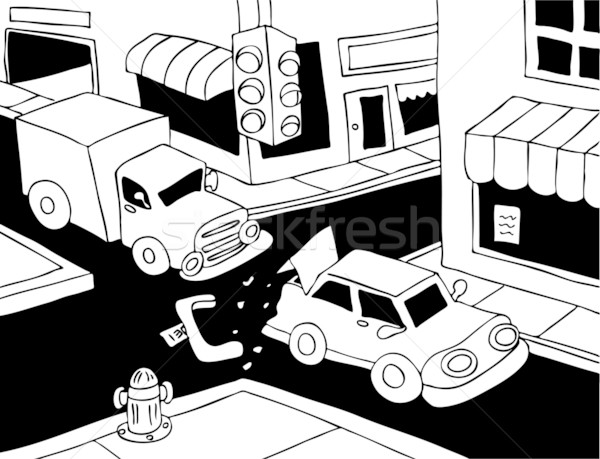Car Crash - black and white Stock photo © cteconsulting