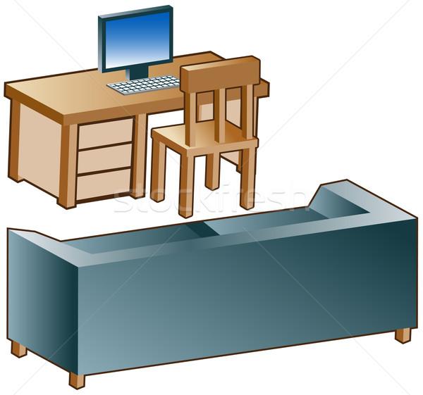 Stock fotó: Kanapé · asztal · ikonok · 3D · izolált · fehér