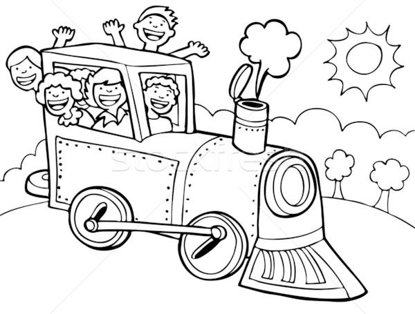 Child Train Ride - black and white Stock photo © cteconsulting