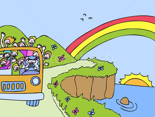 Sunshine Bus Ocean Tour Stock photo © cteconsulting