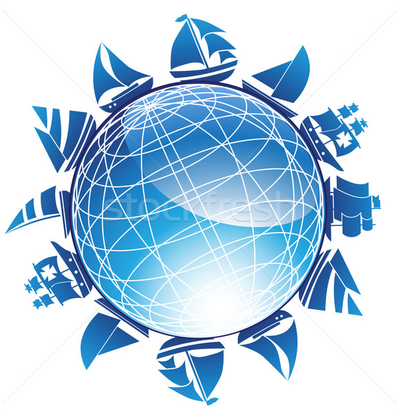 3D Globe with Surrounding Sailboats Stock photo © cteconsulting