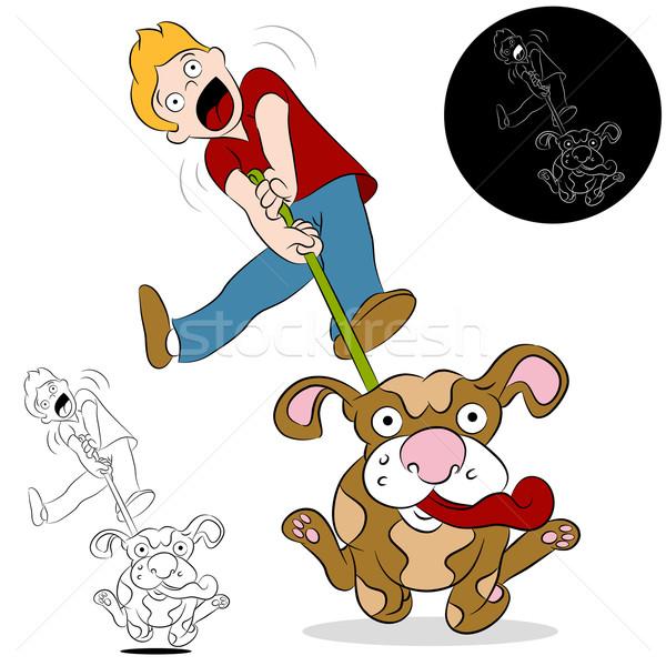 Uomo piedi cane immagine esecuzione piedi Foto d'archivio © cteconsulting
