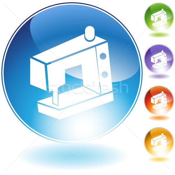 Maszyny do szycia ikona odizolowany biały przycisk szycia Zdjęcia stock © cteconsulting