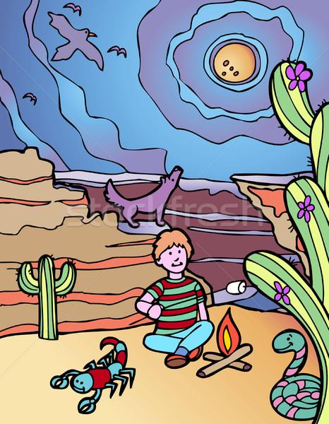 Kid Adventure: Desert Campground Stock photo © cteconsulting