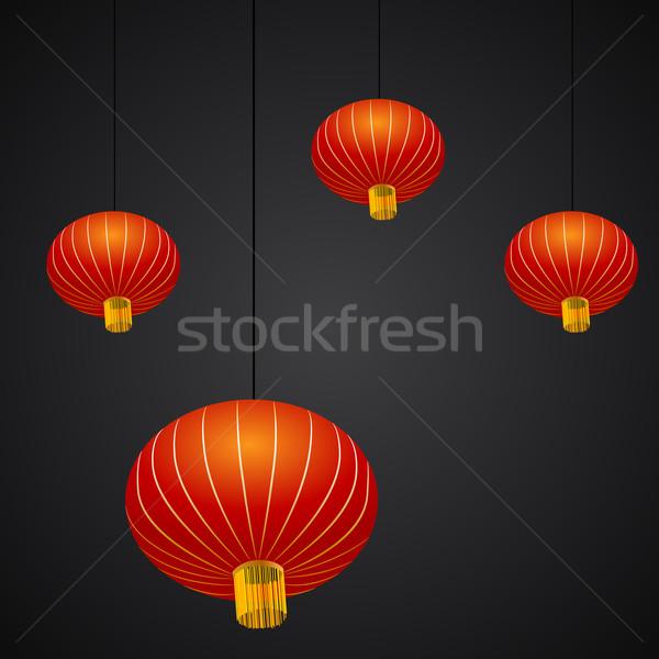 Kínai új év lámpás kép éjszaka fekete kínai Stock fotó © cteconsulting