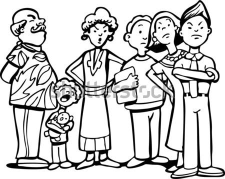 ждет линия Cartoon изображение группа нетерпеливый Сток-фото © cteconsulting
