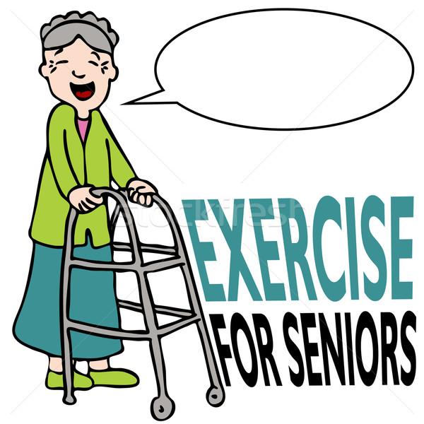 Exercising Senior Lady with Walker Stock photo © cteconsulting