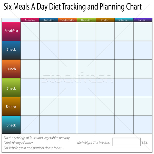 Six Meals A Day Weekly Diet Tracking and Planning Chart Stock photo © cteconsulting