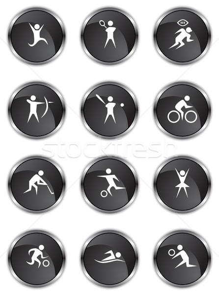 Sportos gombok fekete szatén gyűjtemény 12 Stock fotó © cteconsulting