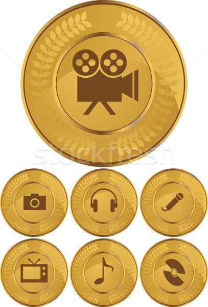 Multimedia Buttons - Gold Coin Stock photo © cteconsulting