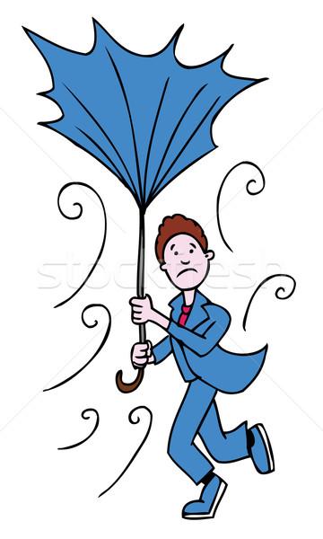 Kırık şemsiye adam yüzler kötü hava iş Stok fotoğraf © cteconsulting