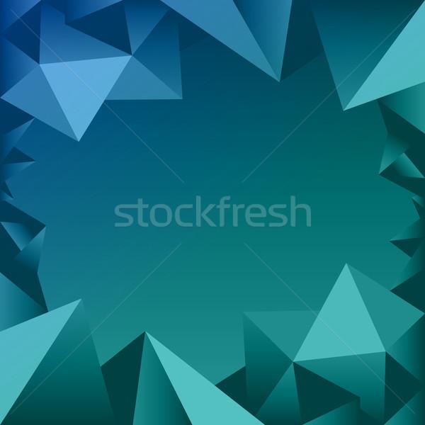 Blauw veelhoek grens icon afbeelding grafische Stockfoto © cteconsulting