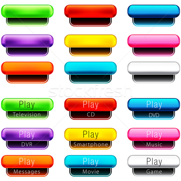 Play Pill Shaped Button Set Stock photo © cteconsulting