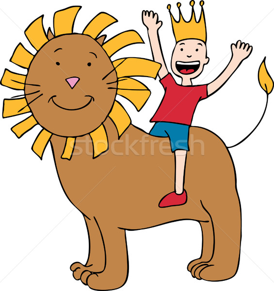 Child on Lion Stock photo © cteconsulting