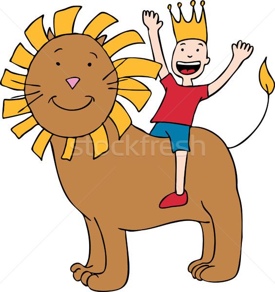 Сток-фото: ребенка · лев · Cartoon · изображение · верховая · езда · счастливым