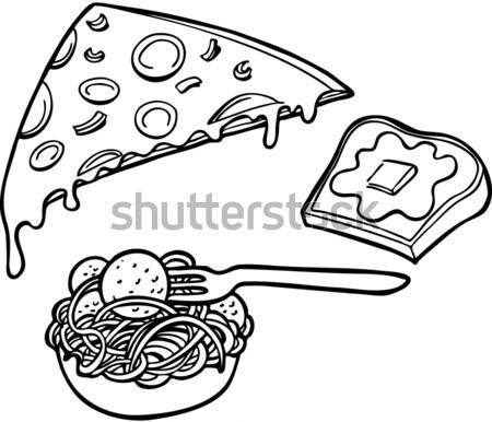 パスタ ピザ ガーリックブレッド セット のイタリア料理 白 ストックフォト © cteconsulting