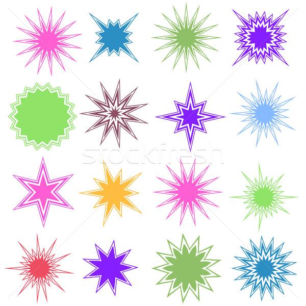 Set of 16 Starburst Shapes Stock photo © cteconsulting