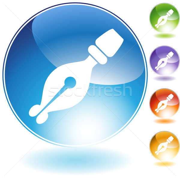 Calligraphy Pen Crystal Icon Stock photo © cteconsulting