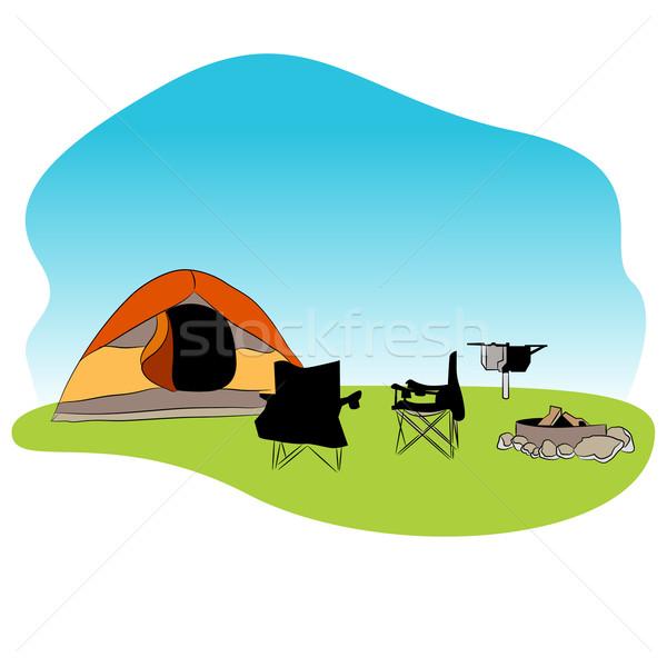 キャンプ場 アイコン 画像 キャンプ 草 椅子 ストックフォト © cteconsulting