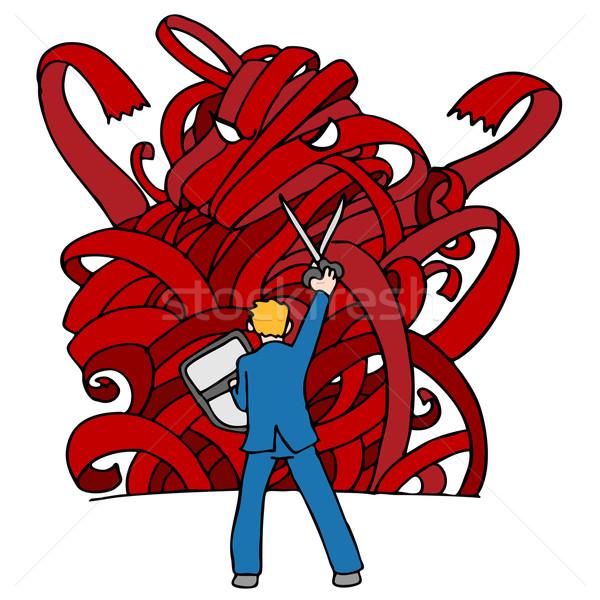 Bürokrácia szörny kép üzletember pajzs verekedés Stock fotó © cteconsulting
