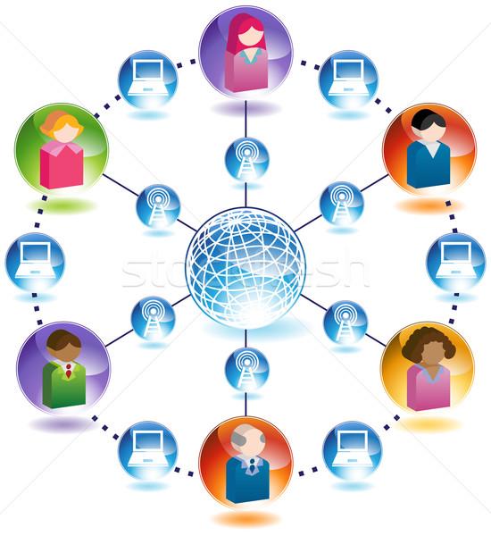 Business netzwerk menschen verbindung 3d welt for Business netzwerk