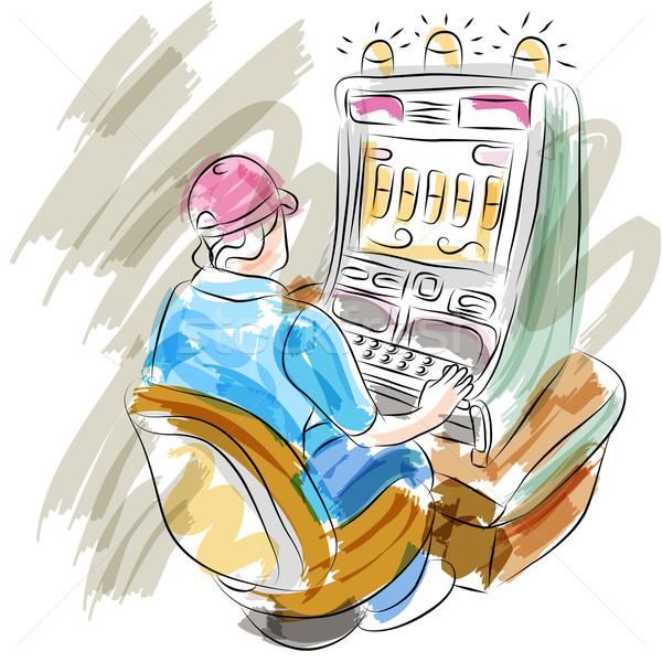 Nő játszik játékautomata kép festmény női Stock fotó © cteconsulting